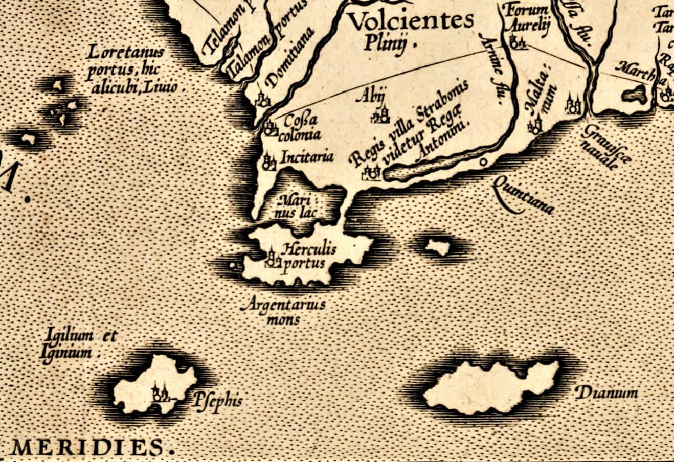 monte argentario in a map of 1584